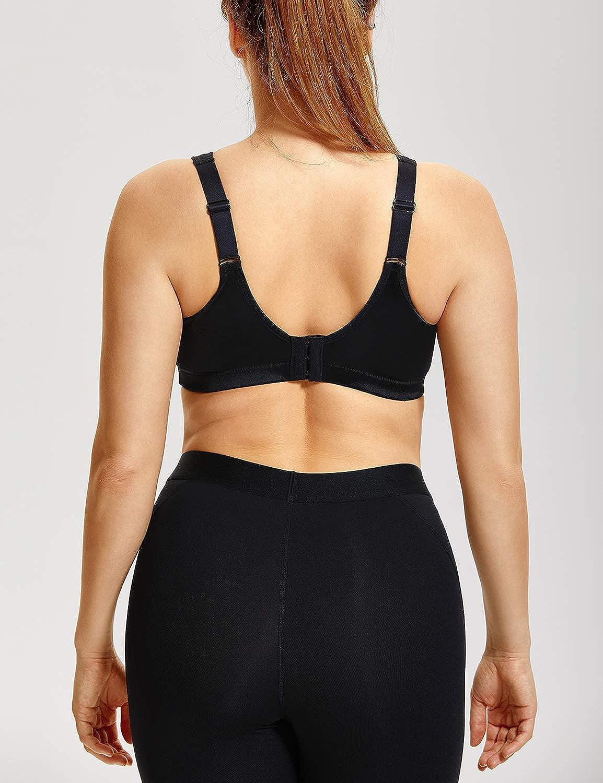 SYROKAN Women's High Impact Sports Bra Plus Size Wirefree Non-Padded Full Figure Bra