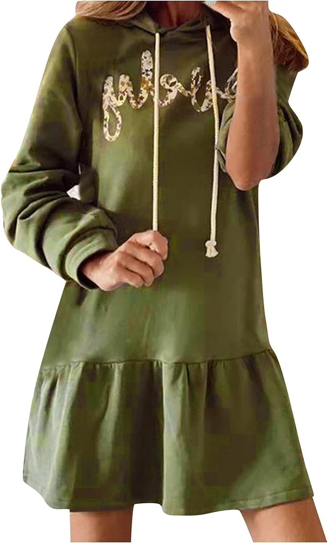 SANGNI Women's Fashion Casual Versatile Printed O-Neck Blouse Dress Fall Dresses Party Long Maxi Dress B6