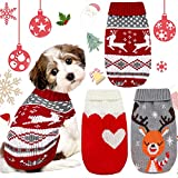 3 Patterns Christmas Vintage Dog Sweaters Holiday Reindeer Red Heart Style Dog Clothes New Year Soft Puppy Sweaters Warm Pet Sweaters for Small Dog and Cat (S)