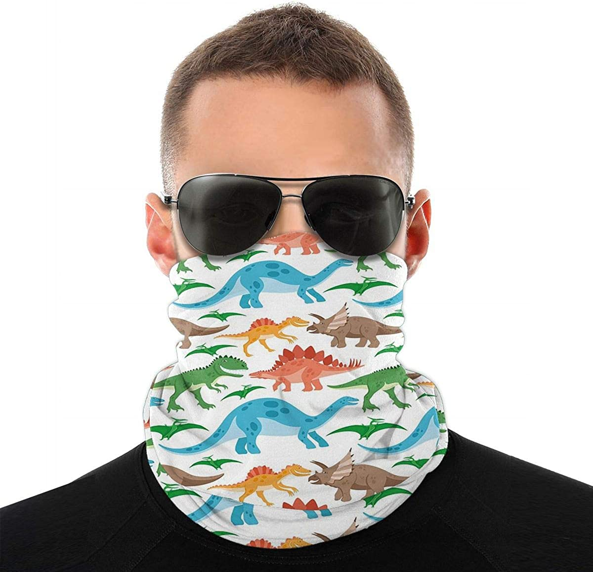 KiuLoam Colorful Dinosaurs Seamless Face Mask Bandanas Neck Gaiter for Men and Women, Multifunction Headband Scarf for Dust, Outdoors, Sports