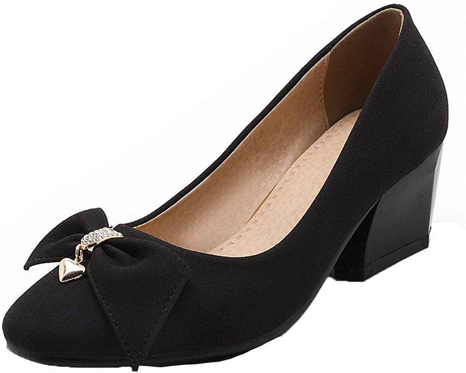 WeenFashion Women's Pull-On Kitten-Heels PU Solid Square Toe Pumps-shoes