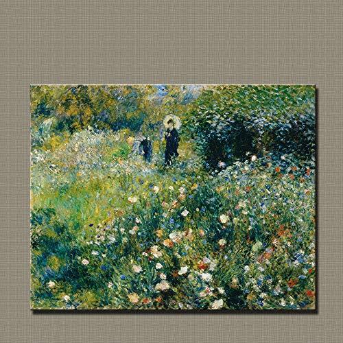 N / A Stampa su Tela Arte Moderna Impressionista Pittura Donna con ombrellone in Giardino Home Life Replica Pittura su Tela (Stampa Senza Cornice) D 60x90 CM