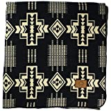 Inca Fuzzy Ecuadorian Blanket - Aztec/Southwest Artisanal Style - Use As Fall Throw Blanket, Camp Blanket, or Fluffy Cover for Indoors and Outdoors (Black, Medium)