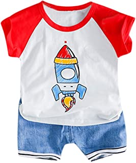 Waymine Toddler Cartoon Rocket Print T-Shirt Tops+Jeans Outfits Baby Boys Set