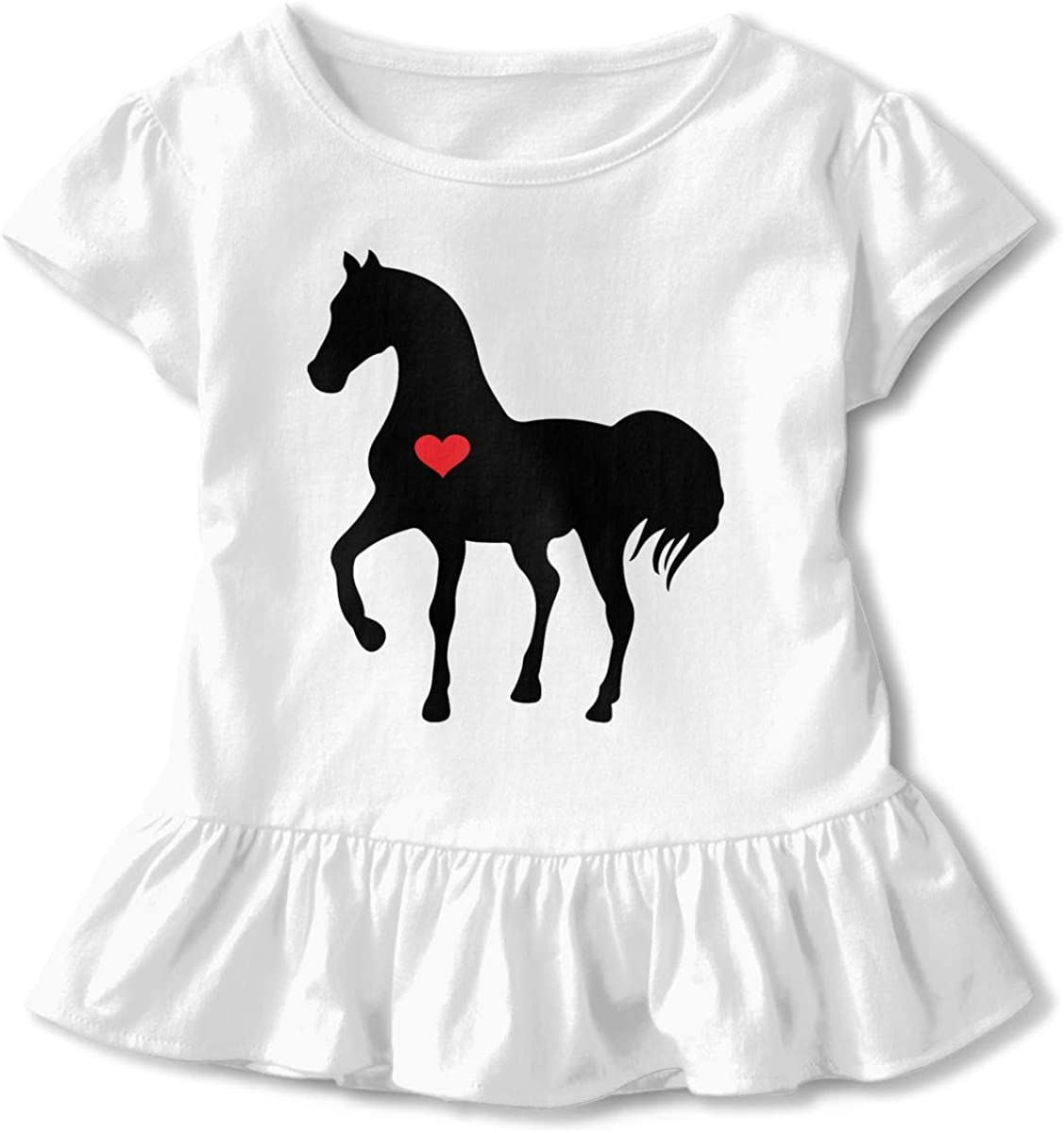 Heart Horse Red Kids Children Crew Neck T-Shirt Pullovers