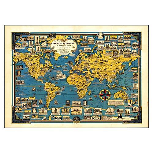 Volwassen houten puzzel, World Culture, Hand-Drawn Retro Map, HD-versie, Home Decoration, 1000, 1500, 2000, 4000 Pieces, Children's Educatief speelgoed,1500