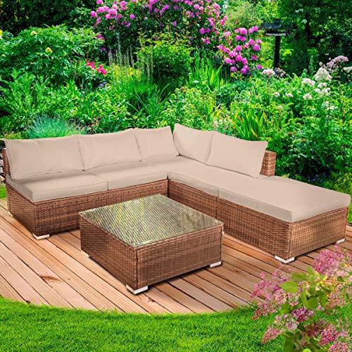 Poly-Rattan Gartenmöbel Lounge Set 15 Modelle 3 Farben 4-12 Personen Aluminium Sitzgruppe OASE Braun