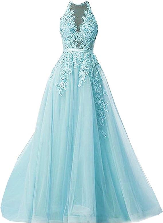 Meales Damen Prinzessin Abendkleider Ballkleider Elegant Lang Spitze Applikationen Brautkleider Brautjungfernkleider Amazon De Bekleidung