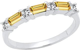 Dazzlingrock Collection 14K 4X2 MM Baguette Gemstone & Princess Diamond Ladies Wedding Band, White Gold
