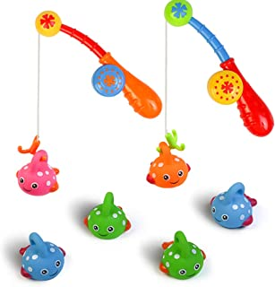 Fajiabao Bath Toys Set for Toddlers Shower Kids Fishing Game Bathtub Toy Colorful Floating Fish with Hook Pole Baby Fun In...