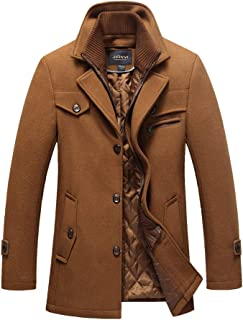 Seamido Mens Wool Blend Coat Slim Fit Winter Jacket with Free Detachable Plaid Scarf