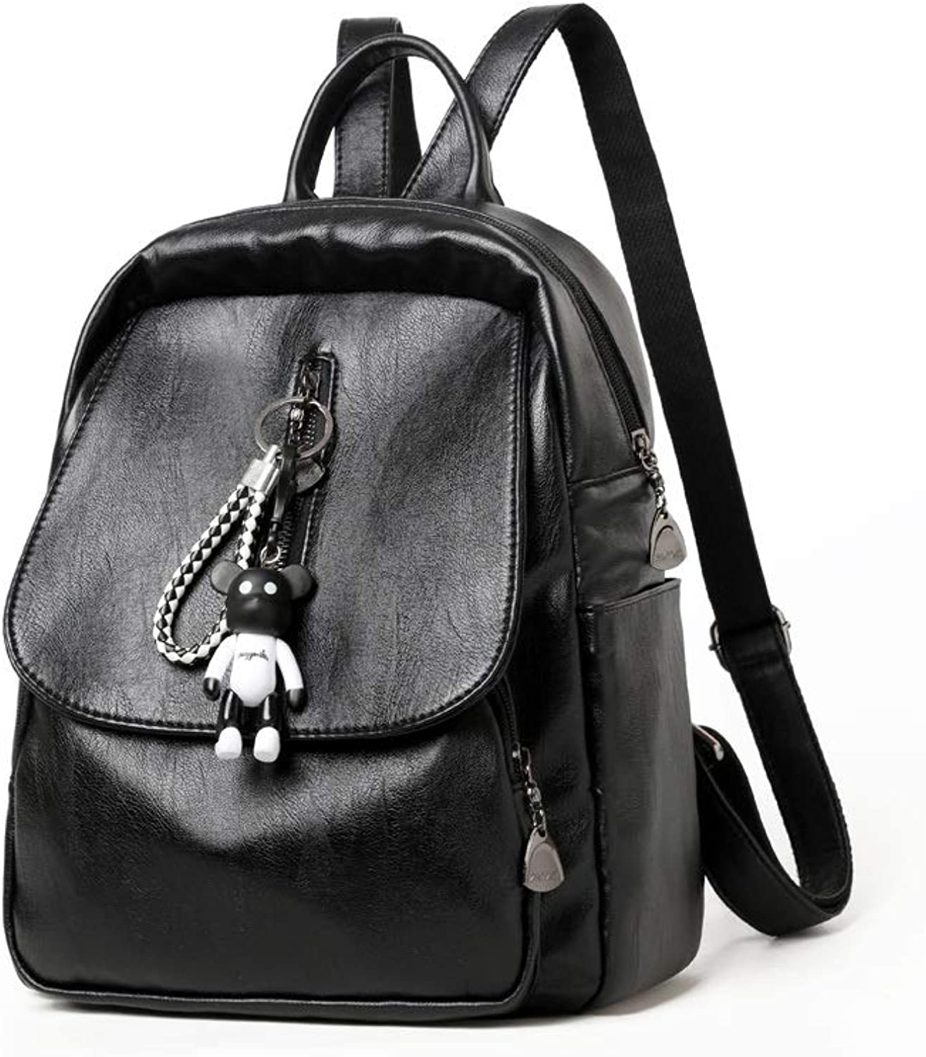 Hengtongtongxun The Girl's Versatile Backpack is Perfect for Everyday Travel, Outdoor, Travel, School, Work, Fashion and Leisure. Black, PU Leather. 2019 New (color   Black, Size   28cm32cm18cm)
