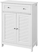 SoBuy Armario de almacenaje Mueble Auxiliar para baño- 1 cajones y 2 Puertas FRG238-W,ES