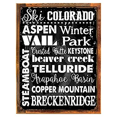 Wood-Framed Ski Colorado Metal Sign, Sport, Winter, Mountain, Cabin, Lodge on reclaimed, rustic wood