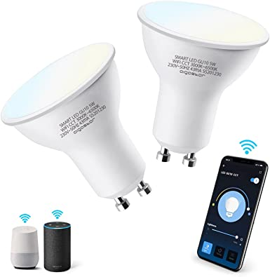 Aigostar Bombilla LED inteligente WiFi GU10, 5W. Regulables de luz cálida a blanca (3000 a 6500 K). Bombilla inteligente compatible con Alexa y Google Home. Equivalente a 35W incandescente 2 uds