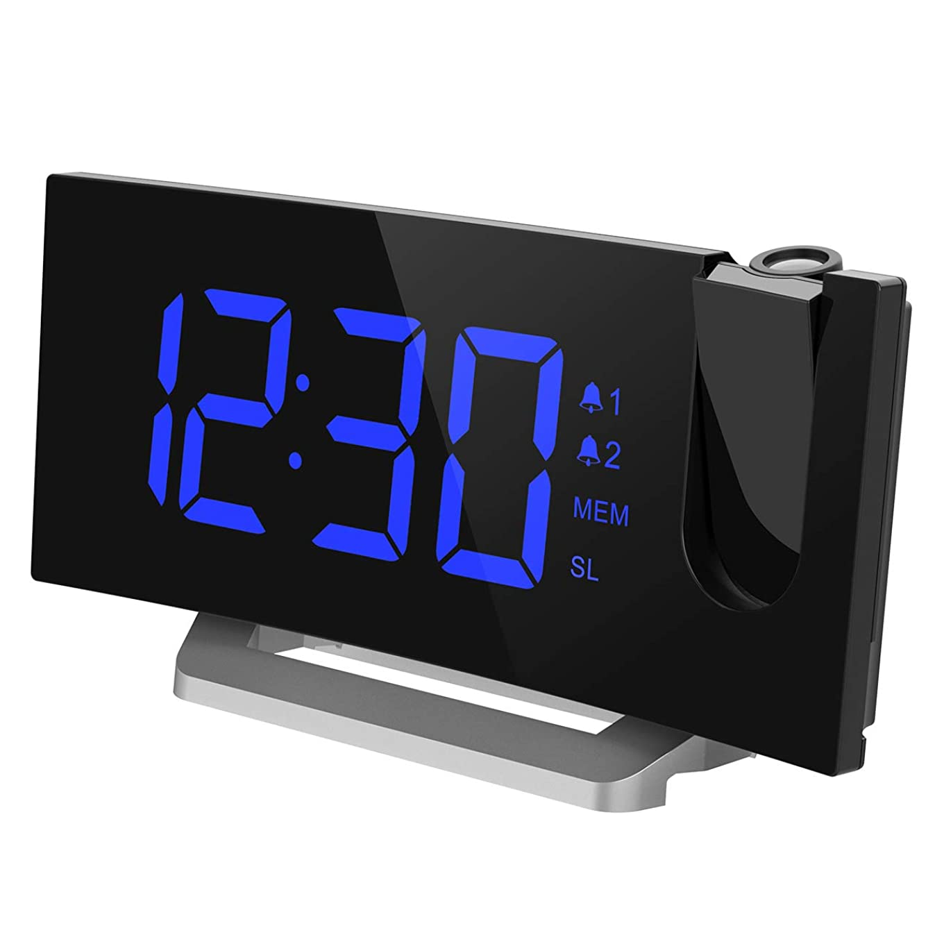 Mpow [Upgraded] Projection Alarm Clock, 5'' LED Curved-Screen Digital Alarm Clock, 4 Dimmer, Dual Alarms, 15 FM Radio, USB Charging Port, Sleep Timer, Snooze Function, Bedroom, Ceiling, Wall