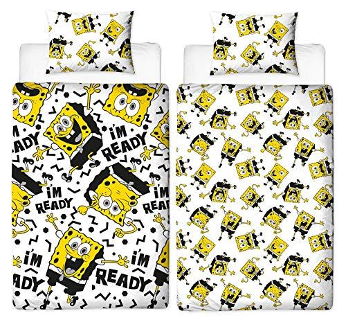 Spongebob Schwammkopf Bettbezug für Einzelbett, wendbar, zweiseitiges Design mit passendem Kissenbezug, Polyester