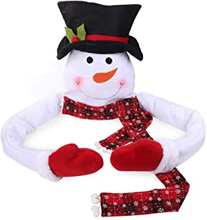 AerWo Snowman Christmas Tree Topper with Cotton Filled Arm, Handmade Christmas Snowman Top of The Tree Hugger for Christmas Tree Ornament
