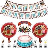 Kindergeburtstag Deko Kit YUESEN 28PCS Rotorspiralen Geburtstag Dekoration Folien Luftballon Happy Birthday Banner Kuchendeckel Cake Topper für Babyshower Kinder Baby Junge Party
