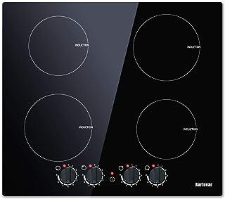 Karinear Plaque à Induction - Cuisson à Induction Double électriques 60CM Cuisinière à 4 brûleurs avec plaque de cuisson e...