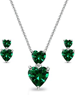Sterling Silver Genuine, Created or Simulated Gemstone Double Heart Friendship Necklace & Stud Earrings Set