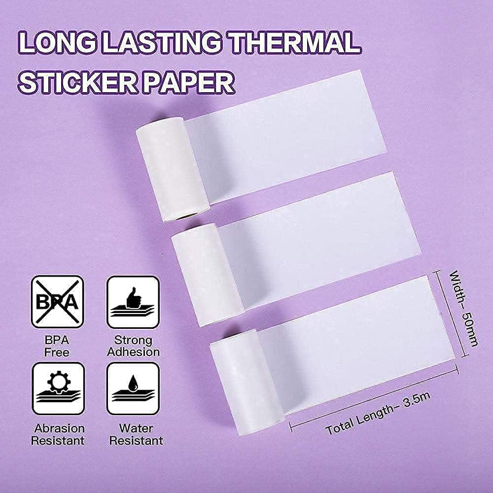 Memoking M02 Black on White Thermal Printer Paper Sticker, Compatible with Phomemo M02/M02S/M02PRO/M03 Printer, 50mm x 3.5m / 1.96in x 11.48ft, 3 Rolls