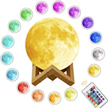 Moon Lamp,3D Printed Night Light Remote Control 16 Colors Change Optical Illusion LED Lunar Moonlight Globe Ball with Wood Stand Base for Kids Room Baby Nursery Bedroom Decor Diameter 20cm