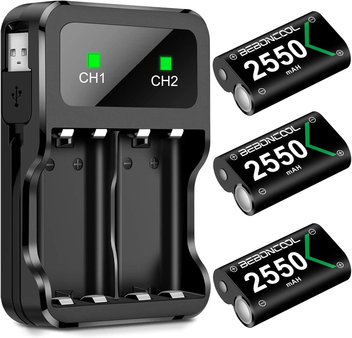 Controller Battery Pack for Xbox One, Rechargeable Battery Pack for Xbox One/Xbox One S/Xbox One X/Xbox One Elite Controller, 3x2550 mAh with Rechargeable Battery Charger