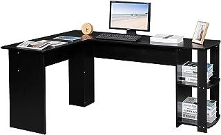 Upstartech Bureau d'angle avec Rangement, Bureau Informatique en Forme de L, Postes de Travail PC et Ordinateur avec Etagè...