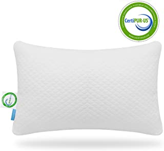 ONIREACO Shredded Bamboo Memory Foam Pillow-Adjustable Height for Various Sleep Postures Positions-Comfortable Breathable Hypoallergenic Washable Cover with Zipper(Queen Size)