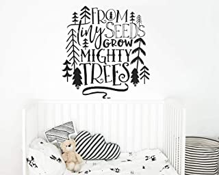 wanghan Nursery Quote Wall Decal from Tiny Seeds Grow Mighty Trees Wall Sticker Tribal Kids Room Decor Woodland Tree Vinyl Decal 57X60