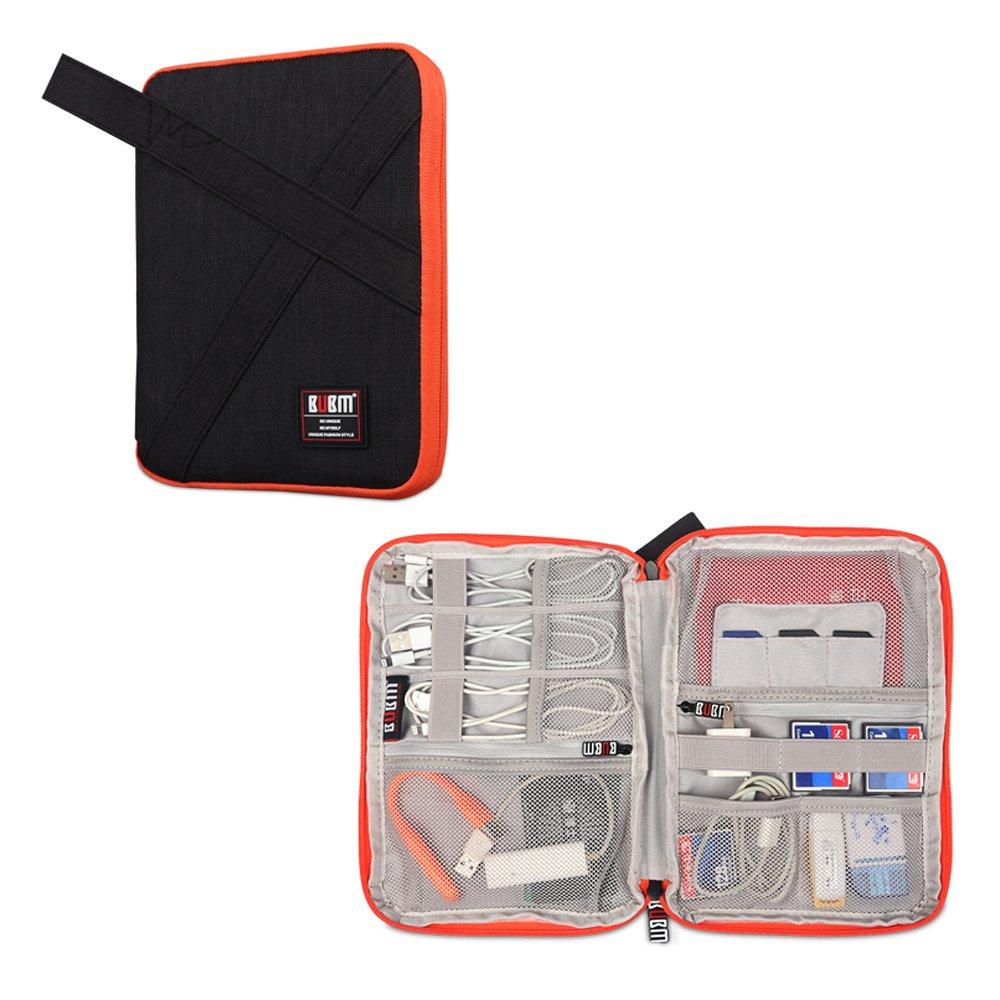 BUBMは美しいDIPデータケーブルバッグポータブルバッグUディスクパッケージワイヤー収納袋ヘッドセットバッグモバイル電源パッケージ多機能デジタルアクセサリー収納袋(M(17.5×23.5×3CM)、ブラック)