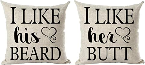 ramirar Set of 2 Black Word Art Quote I Like His Beard I Like Her Butt Love for Lover Valentine's Day Throw Pillow Cover Case Cushion Home Living Room Bed Sofa Car Cotton Linen Square 18 x 18 Inches