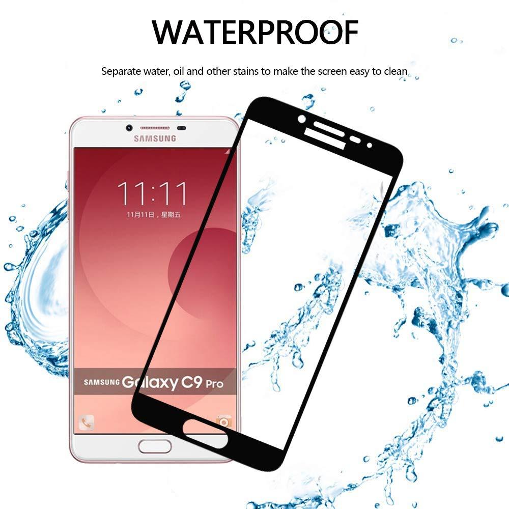 FMPC [2 Piezas Protector de Pantalla para Samsung Galaxy C9 Pro, película Protectora Cristal de Vidrio Templado 9H de Dureza, Cobertura Completa Total 3D Alta Definicion Anti-Burbujas Anti-Arañazos: Amazon.es: Electrónica
