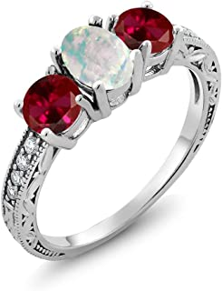 1.95 Ct Oval Cabochon White Simulated Opal Red Created Ruby 925 Sterling Silver Ring (Available 5,6,7,8,9)