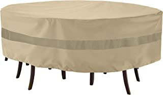 Bestine Garden Furniture Cover Round Garden Table Cover 210D Heavy Duty Oxford Waterproof Windproof Anti-UV Patio Circular Table Cover 128 X 71 Cm
