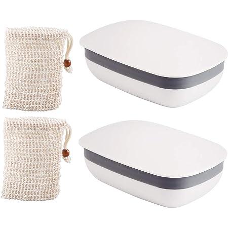 Vegena 2 Pieza Jabonera de Viaje con 2 Pieza Jabonera de Sisal, Caja de Jabón Plástico Portátil Sellado Impermeable para Baño Viaje Senderismo Camping