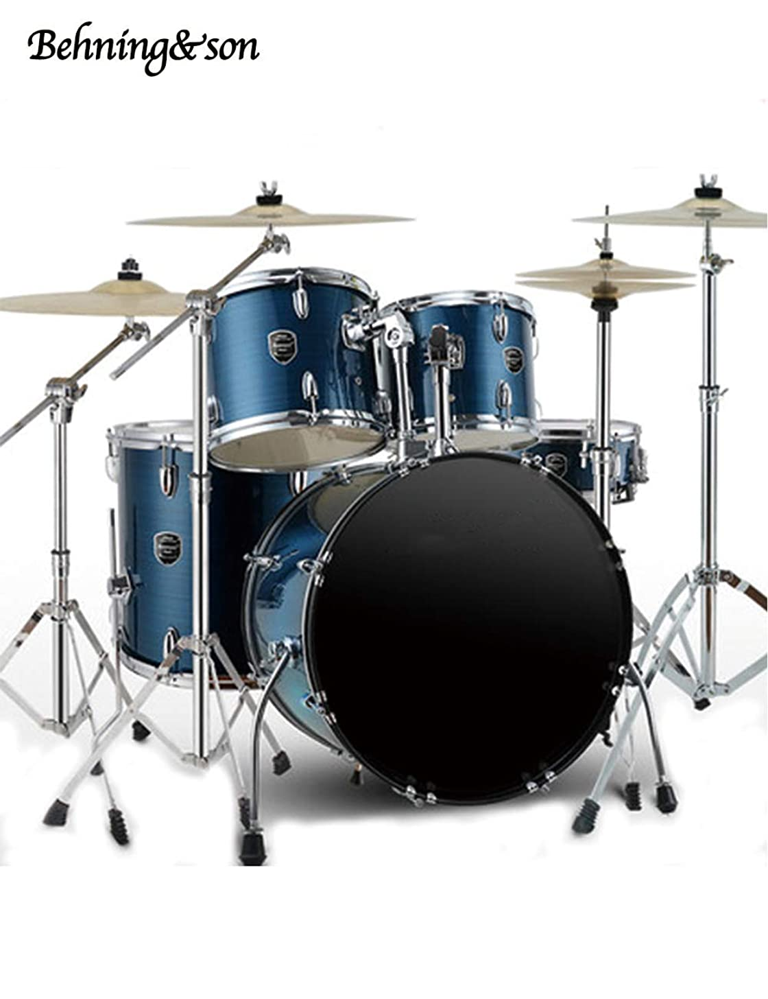 Behning & son Blue 5 Piece Drum Set with Cymbals Stands Hardware Stool and Sticks Full Adult Size Complete