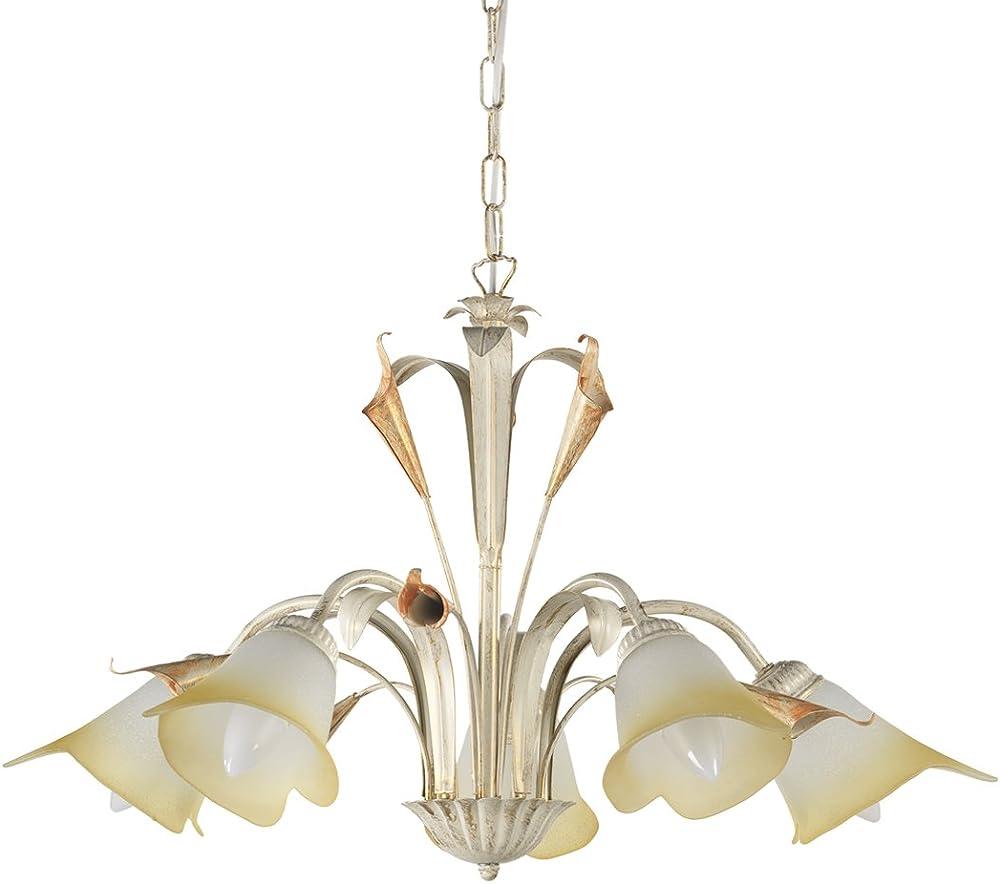 Onli lucrezia lampadario 5 luci. struttura in metallo paralumi in vetro satinato 4722/5