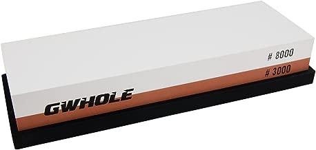 GWHOLE Whetstone Knife Sharpening Stone 3000/8000 Grit - Rubber Stone Holder Included
