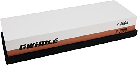 GWHOLE Whetstone Knife Sharpening Stone 3000/8000 Grit - Rubber Stone Holder Included