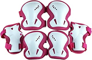 LIOOBO Kids Knee Pads Set 6 in 1 Kit Protective Gear Knee Elbow Pads Wrist Guards for Skateboard Biking Riding Cycling Rollerblading Rosy
