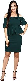 ADDYVERO Women's Solid Off Shoulder Bodycon Knee Length Dress