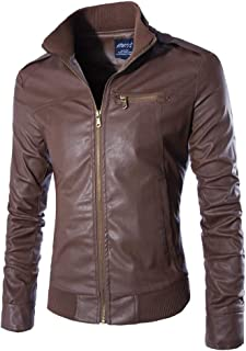 MISSMAO Cool Slim Fit Classic Minimalism Zip Up Leather Jacket for Men