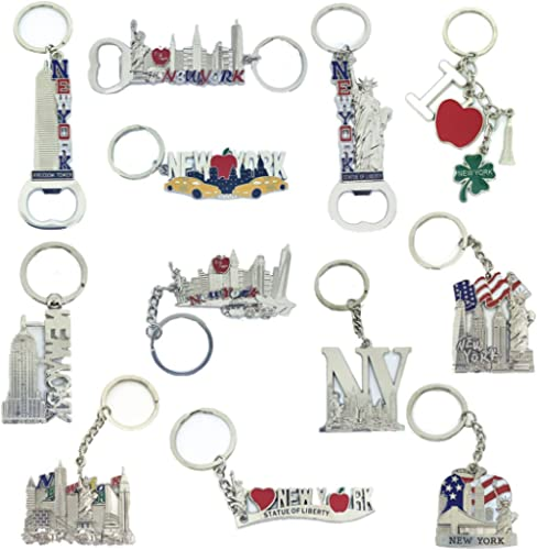 12 Pack Silver NYC Souvenir Collection New York Metal Keychain Ring Bundle Bulk Includes Empire State, Freedom Tower,...