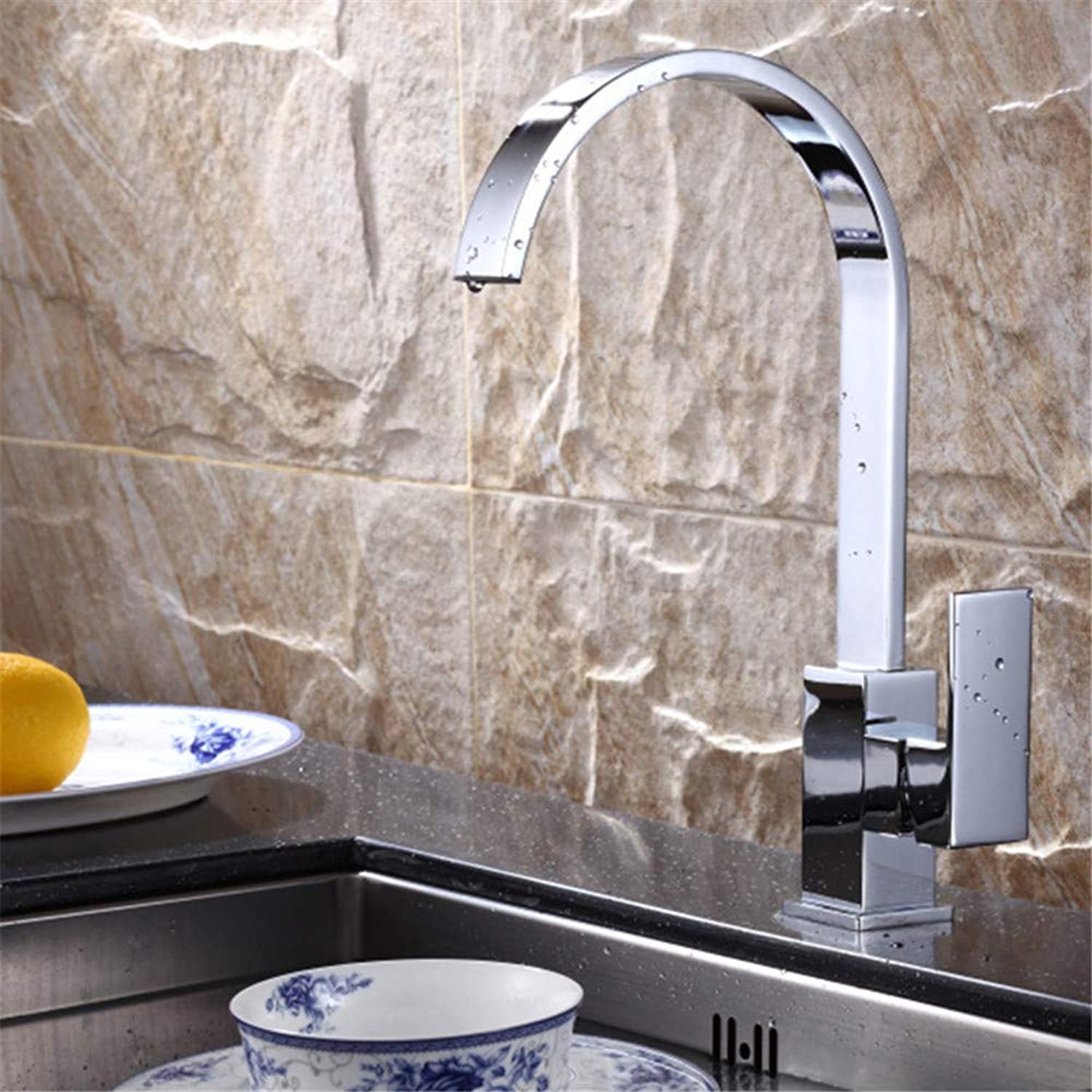 Copper Cold and Hot Water Mixer Kitchen Faucet Single Kitchen Sink Faucet Square Single Handle redary Chrome Plating Polishing