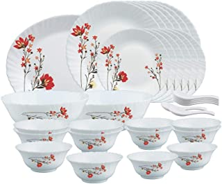 Larah by Borosil Chrys Red Opalware Dinner Set, 33-Pieces, White