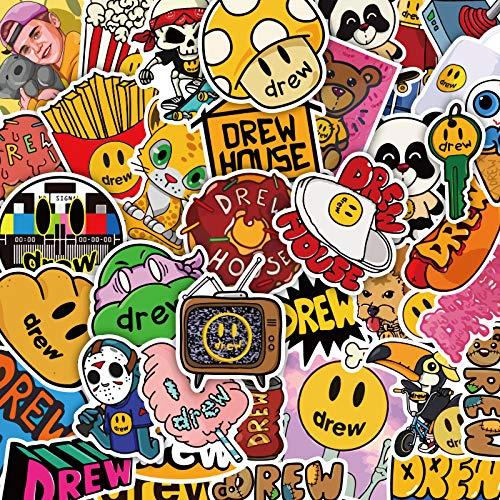 DSSJ 50 Pegatinas de Justin Bieber, Pegatinas de Smiley Drewhouse, Pegatinas de Equipaje, Fundas Impermeables para teléfonos móviles de la Marca Tide