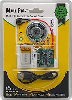 MultiPlay Push Button Recordable Sound Chip | Plays Multiple Recordings | Add Music and Personal Voice to Photo Frames, Cr...