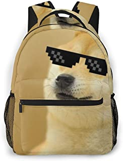 Climbing Picnic Running Backpack Daypack Durable Polyester Anti-Theft Multipurpose Rucksack Large Capacity Bookbag, Funny Doge Thug Life Sunglasses